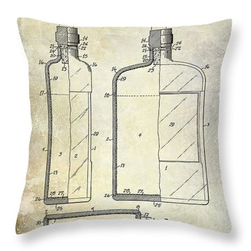 1937 Liquor Bottle Patent  Throw Pillow