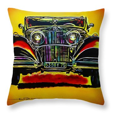 Throw Pillow featuring the painting 1937 Mercedes Benz First Wheel Down by Eric Dee