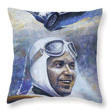 1937 Rudolf Caracciola Mb W125 Throw Pillow by Yuriy Shevchuk