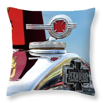 1938 American Lafrance Fire Truck Hood Ornament Throw Pillow by Jill Reger