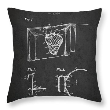 1938 Basketball Goal Patent - Charcoal Throw Pillow