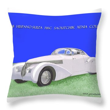 1938 Hispano Suiza H6c Saoutchik Xenia Coupe Throw Pillow by Jack Pumphrey