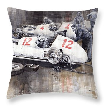 1938 Italian Gp Mercedes Benz Team Preparation In The Paddock Throw Pillow by Yuriy  Shevchuk