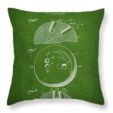 1939 Bowling Ball Patent - Green Throw Pillow