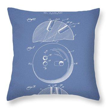 1939 Bowling Ball Patent - Light Blue Throw Pillow