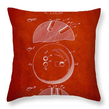 1939 Bowling Ball Patent - Red Throw Pillow