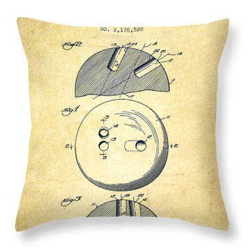 1939 Bowling Ball Patent - Vintage Throw Pillow