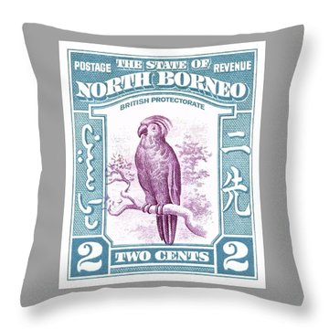 1939 North Borneo Palm Cockatoo Postage Stamp Throw Pillow