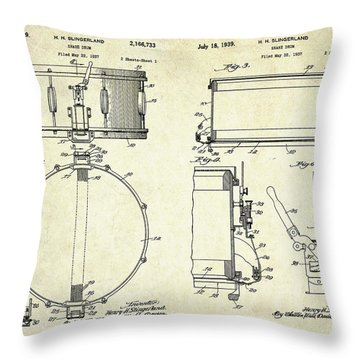 1939 Slingerland Snare Drum Patent Sheets Throw Pillow by Gary Bodnar