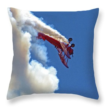 1940 Boeing Stearman Biplane Stunt 2 Throw Pillow
