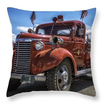 Throw Pillow featuring the photograph 1940 Chevrolet Fire Truck  by Bitter Buffalo Photography