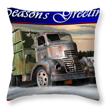 Throw Pillow featuring the digital art 1940 Gmc Christmas Card by Stuart Swartz