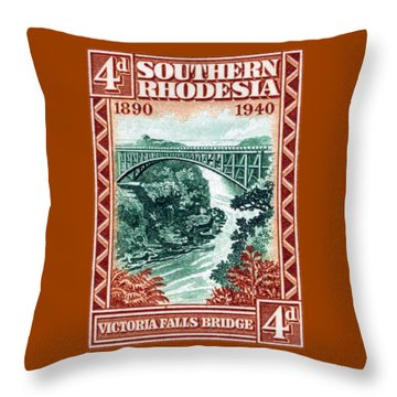 Throw Pillow featuring the painting 1940 Southern Rhodesia Victoria Falls Bridge  by Historic Image