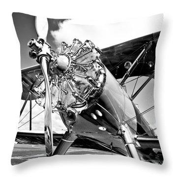 1940 Stearman Biplane Throw Pillow