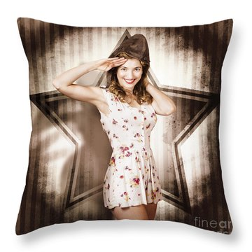 Throw Pillow featuring the photograph 1940s Aviation Pinup Girl Wearing Military Fashion by Jorgo Photography - Wall Art Gallery