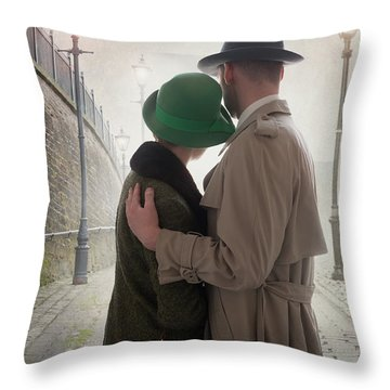 1940s Couple At Dusk  Throw Pillow by Lee Avison