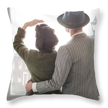 1940s Couple At The Window Throw Pillow by Lee Avison