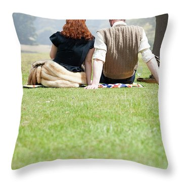 1940s Couple Sitting In The Sunshine Throw Pillow