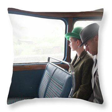 1940s Couple Sitting On A Vintage Bus Throw Pillow by Lee Avison