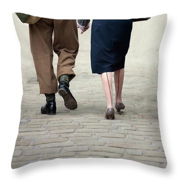 1940s Couple Soldier And Civilian Holding Hands Throw Pillow