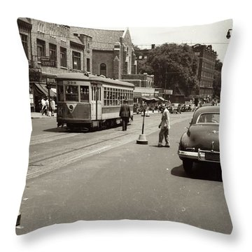 1940's Inwood Trolley Throw Pillow