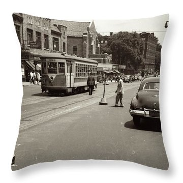 1940's Inwood Trolley Throw Pillow by Cole Thompson