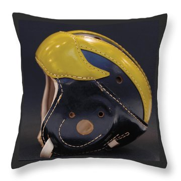 Throw Pillow featuring the photograph 1940s Leather Wolverine Helmet by Michigan Helmet