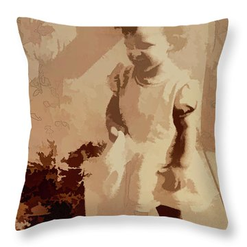 Throw Pillow featuring the photograph 1940s Little Girl by Linda Phelps