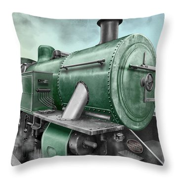 1940's Steam Train Throw Pillow by Marty Garland