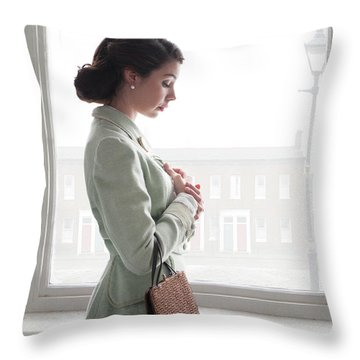 1940s Woman At The Window Throw Pillow by Lee Avison