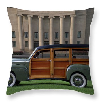 1941 Ford Super Deluxe Country Squire Woody Station Wagon Throw Pillow