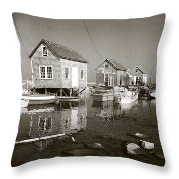 Throw Pillow featuring the photograph 1941 Lobster Shacks, Martha's Vineyard by Historic Image