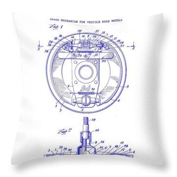 1941 Porsche Brake Mechanism Patent Blueprint Throw Pillow