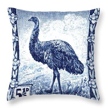 1942 Australia Emu Bird Postage Stamp Throw Pillow