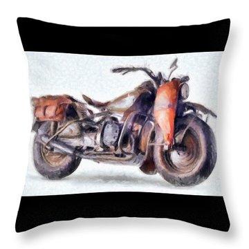 1942 Harley Davidson, Military, 750cc Throw Pillow