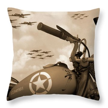 Throw Pillow featuring the photograph 1942 Indian 841 - B-17 Flying Fortress - H by Mike McGlothlen