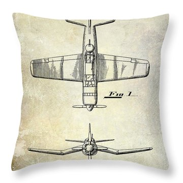 1946 Airplane Patent Throw Pillow