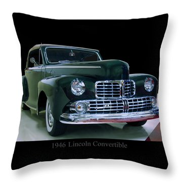 Throw Pillow featuring the photograph 1946 Lincoln Convertible by Chris Flees