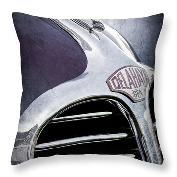 Throw Pillow featuring the photograph 1947 Delahaye Emblem -1477ac by Jill Reger