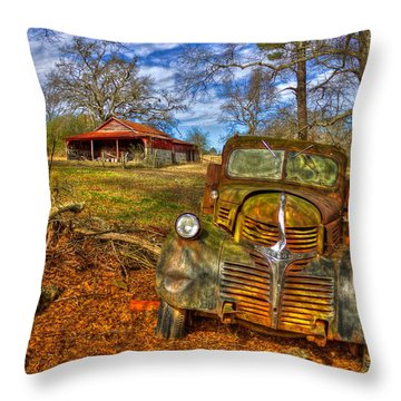 1947 Dodge Dump Truck Country Scene Art Throw Pillow