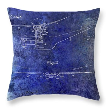 1947 Helicopter Patent Blue Throw Pillow by Jon Neidert