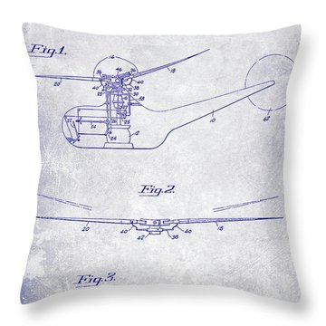 1947 Helicopter Patent Blueprint Throw Pillow