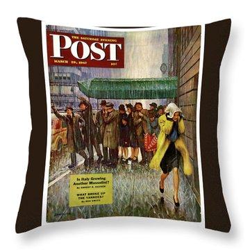 1947 Saturday Evening Post Magazine Cover Throw Pillow