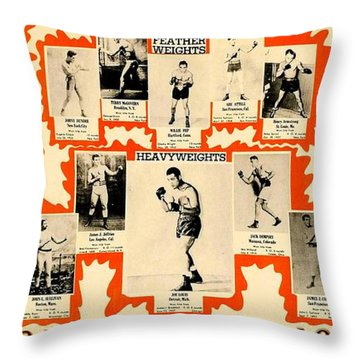 1947 World Champions And Past Greats Of The Prize Ring Throw Pillow