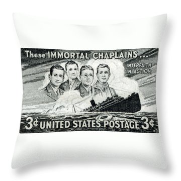 1948 Immortal Chaplains Stamp Throw Pillow by Historic Image