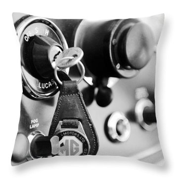 1948 Mg Tc Key Ring Black And White Throw Pillow by Jill Reger