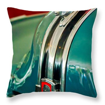 1948 Pontiac Streamliner Woody Wagon Hood Ornament Throw Pillow by Jill Reger