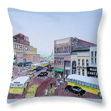 1948 Rush Hour Portsmouth Ohio Throw Pillow by Frank Hunter