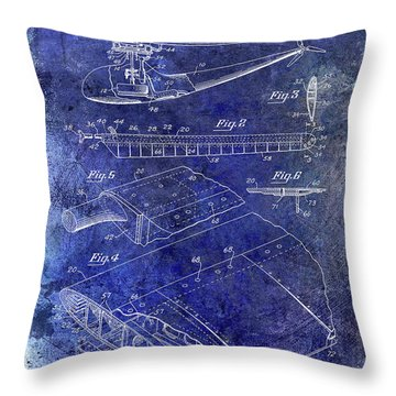 1949 Helicopter Patent Blue Throw Pillow by Jon Neidert