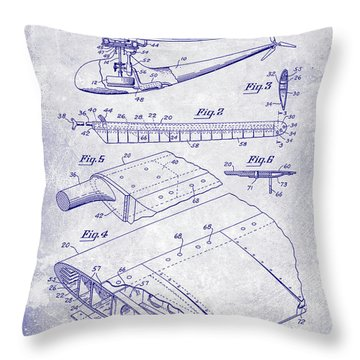 1949 Helicopter Patent Blueprint Throw Pillow